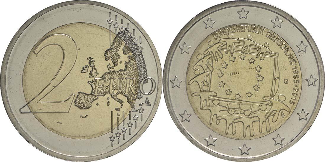 Übersicht:Deutschland : 2 Euro 30 Jahre Europäische Flagge  2015 bfr