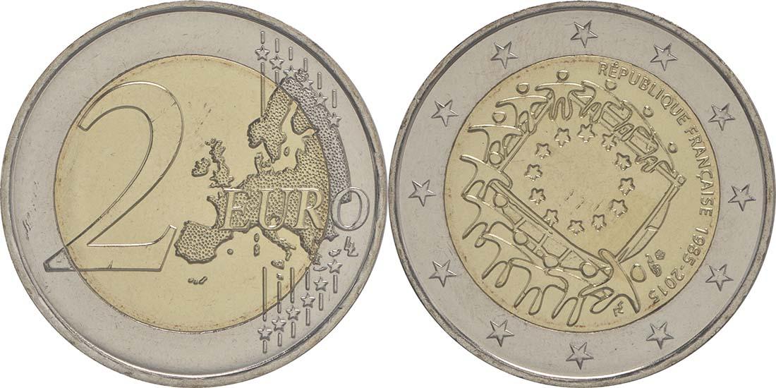 Frankreich : 2 Euro 30 Jahre Europäische Flagge  2015 bfr