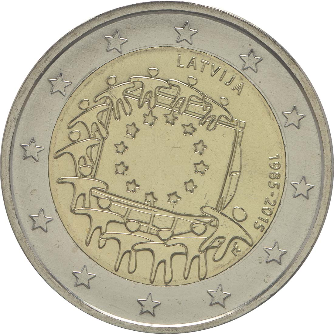 Rückseite:Lettland : 2 Euro 30 Jahre Europäische Flagge  2015 bfr
