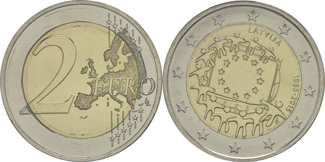 Übersicht:Lettland : 2 Euro 30 Jahre Europäische Flagge  2015 bfr