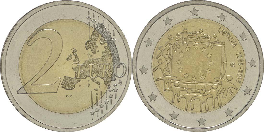 Litauen : 2 Euro 30 Jahre Europäische Flagge  2015 bfr