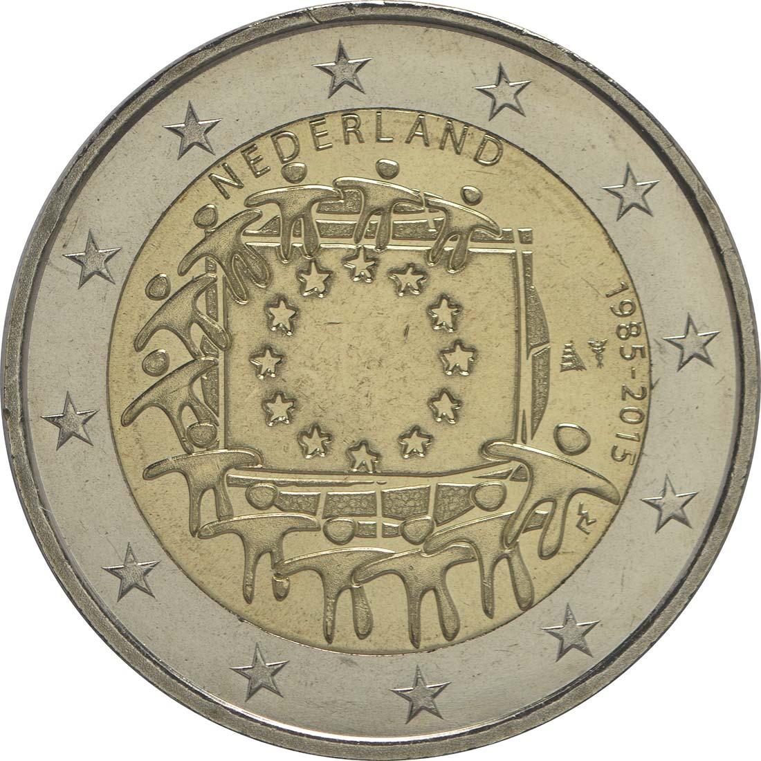 Bild der Rückseite :Niederlande - 2 Euro 30 Jahre Europäische Flagge  2015 bfr