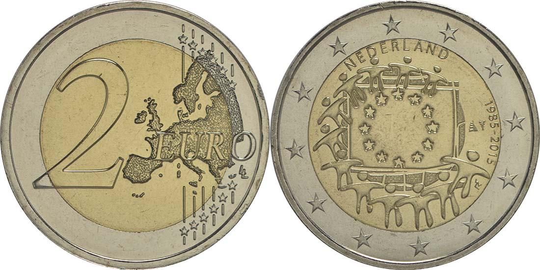 Bild des Lieferumfangs :Niederlande - 2 Euro 30 Jahre Europäische Flagge  2015 bfr