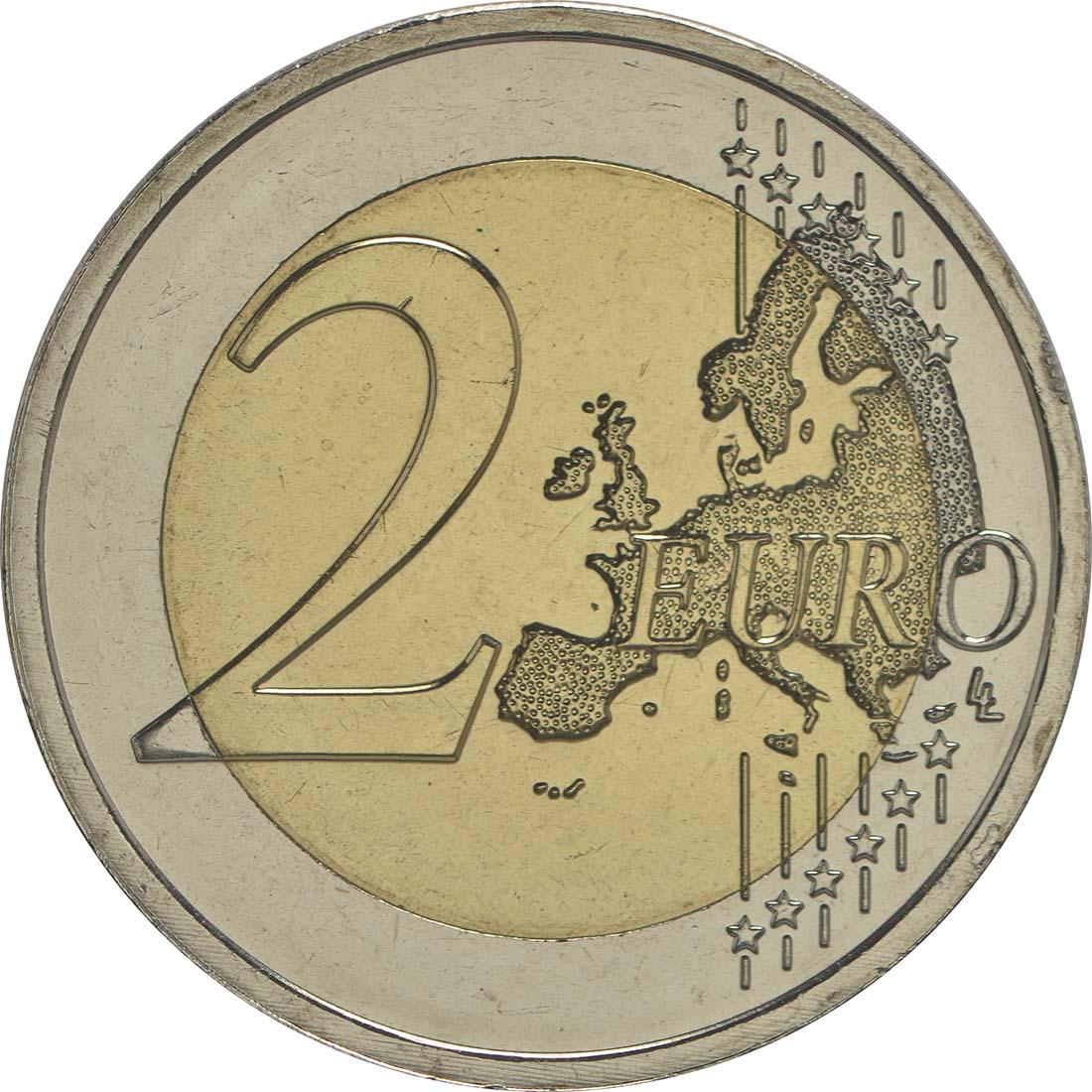 Vorderseite :Niederlande : 2 Euro 30 Jahre Europäische Flagge  2015 bfr