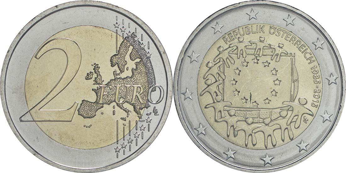 Lieferumfang:Österreich : 2 Euro 30 Jahre Europäische Flagge  2015 bfr