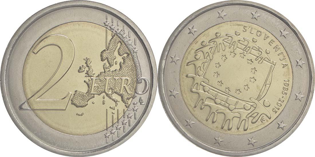 Slowenien : 2 Euro 30 Jahre Europäische Flagge  2015 bfr