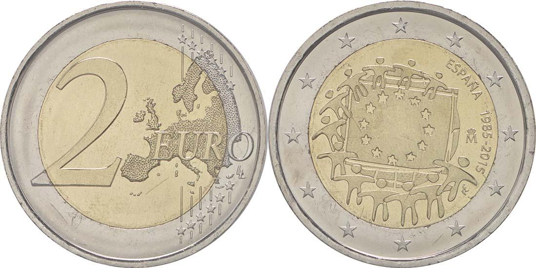 Lieferumfang:Spanien : 2 Euro 30 Jahre Europäische Flagge  2015 bfr