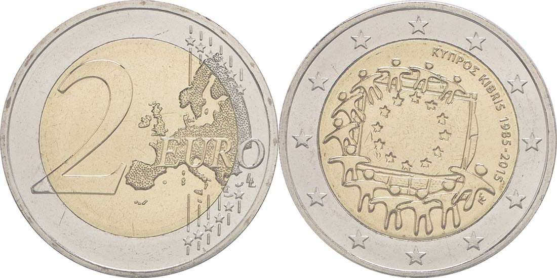 Zypern : 2 Euro 30 Jahre Europäische Flagge  2015 bfr