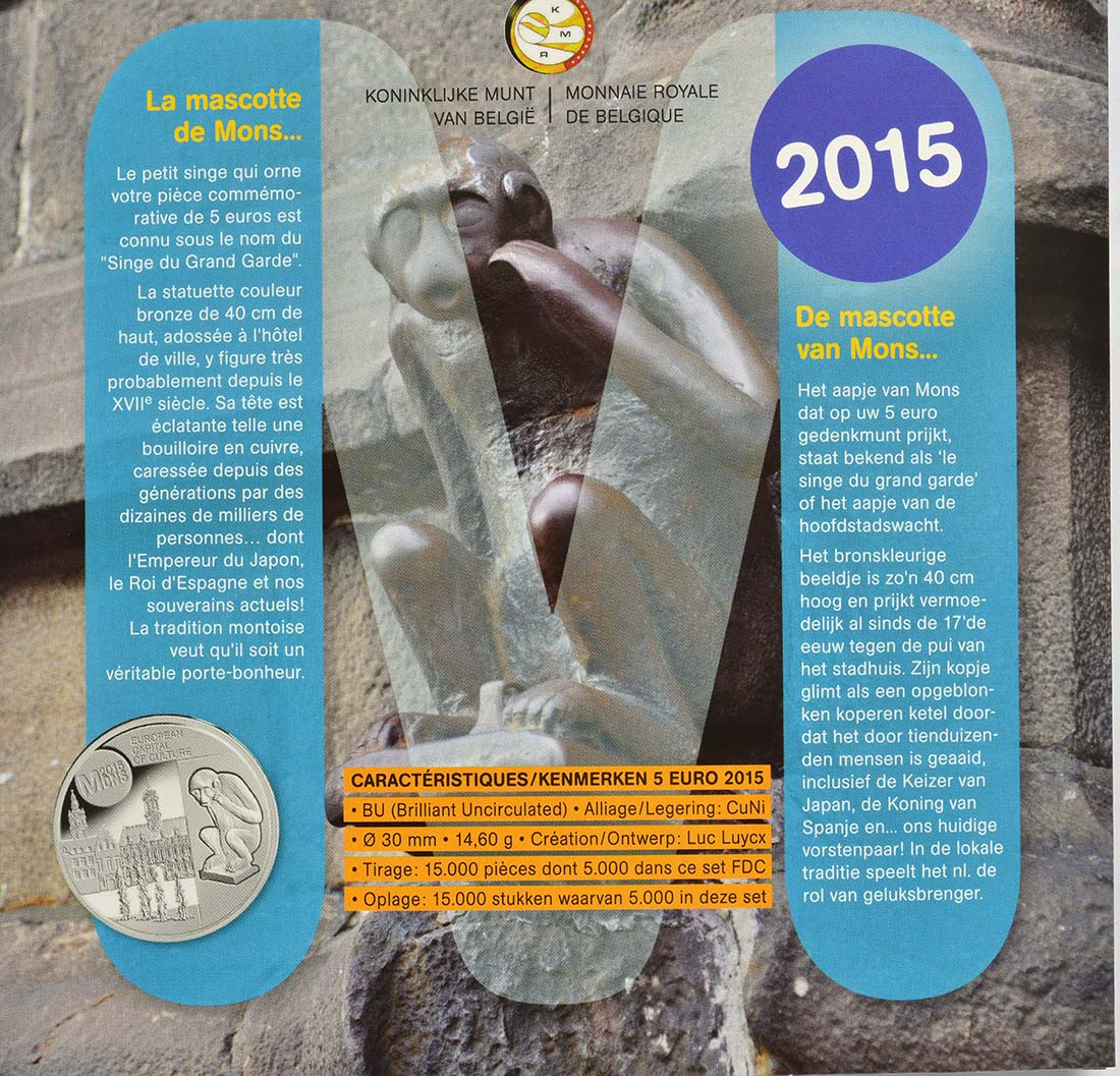 Zertifikat:Belgien : 10,88 Euro KMS Belgien FDC Mons mit 2 Euro Europäische Flagge  2015 bfr