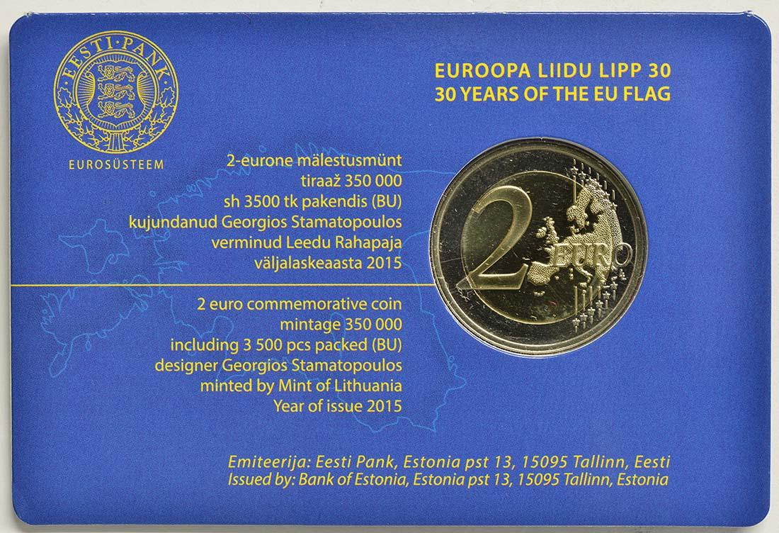 Zertifikat:Estland : 2 Euro 30 Jahre Europäische Flagge  2015 Stgl.