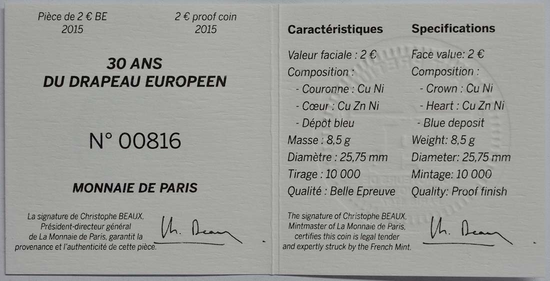 Zertifikat :Frankreich : 2 Euro 30 Jahre Europäische Flagge / coloriert  2015 PP