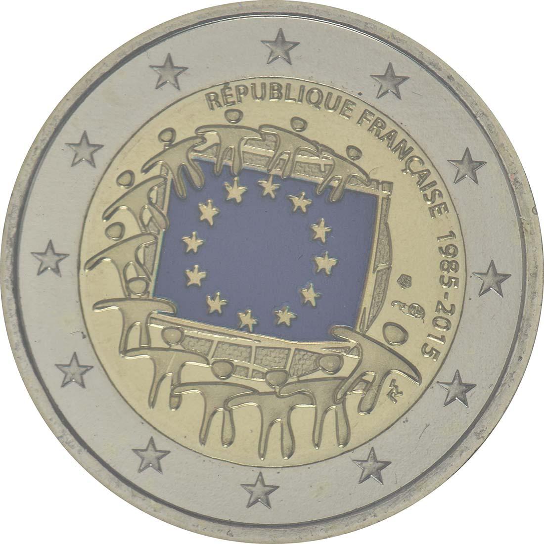 Rückseite :Frankreich : 2 Euro 30 Jahre Europäische Flagge  2015 Stgl.