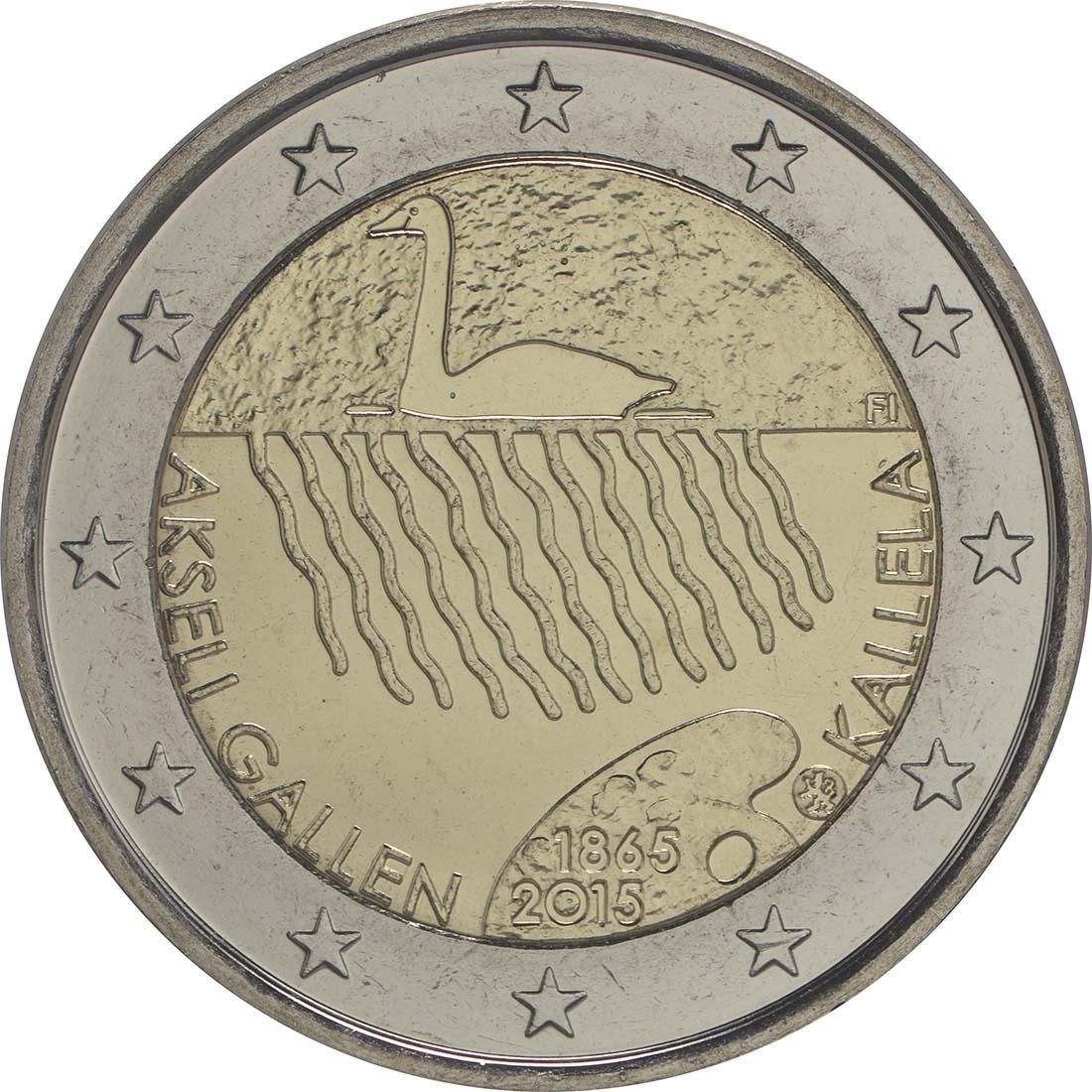 Rückseite :Finnland : 2 Euro 150. Geburtstag des Künstlers Akseli Gallen-Kallela  2015 bfr