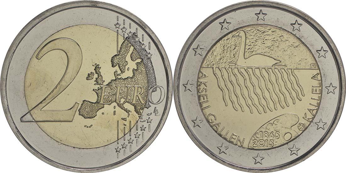 Finnland : 2 Euro 150. Geburtstag des Künstlers Akseli Gallen-Kallela  2015 bfr
