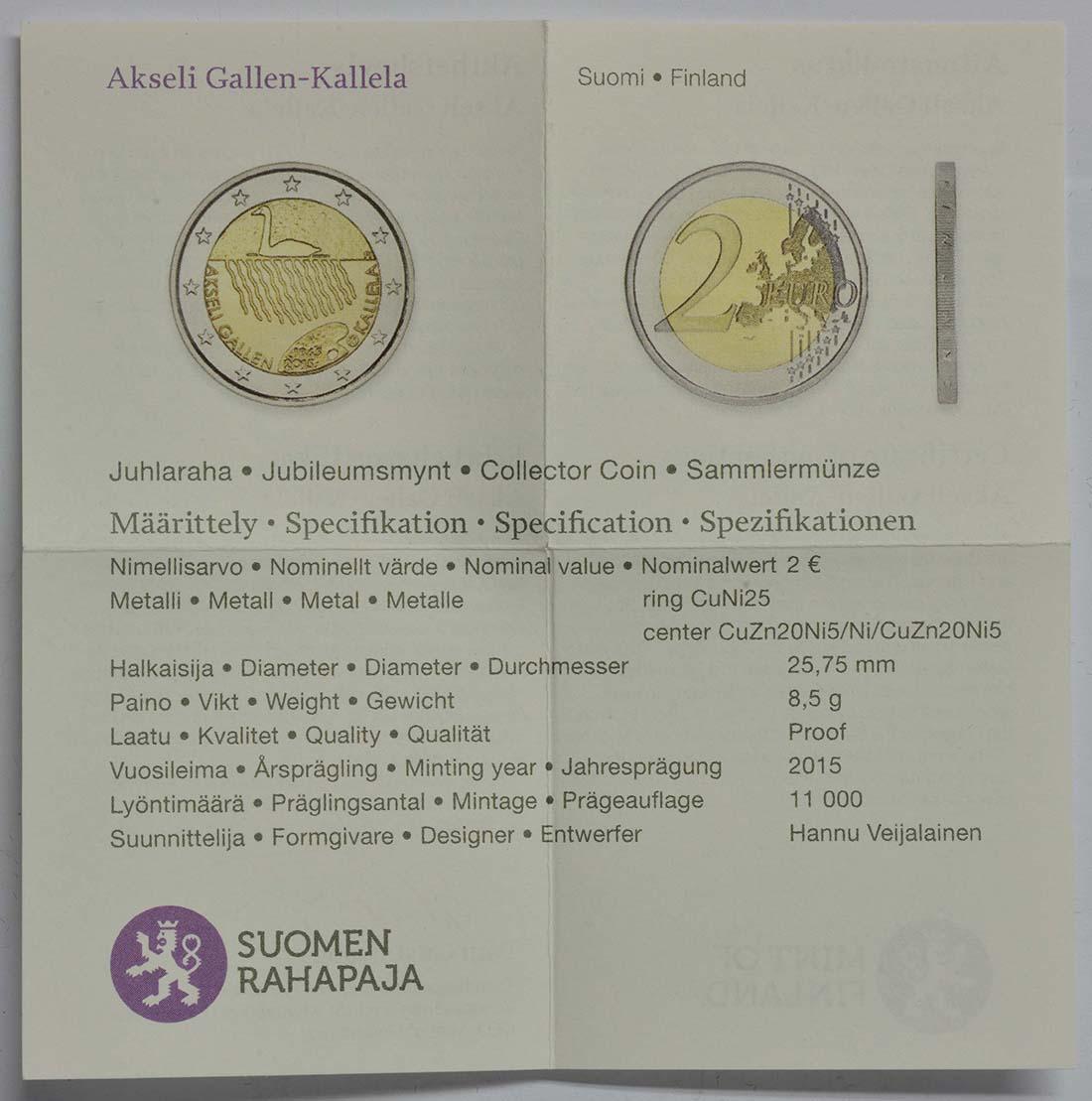 Zertifikat:Finnland : 2 Euro 150. Geburtstag des Künstlers Akseli Gallen-Kallela  2015 PP