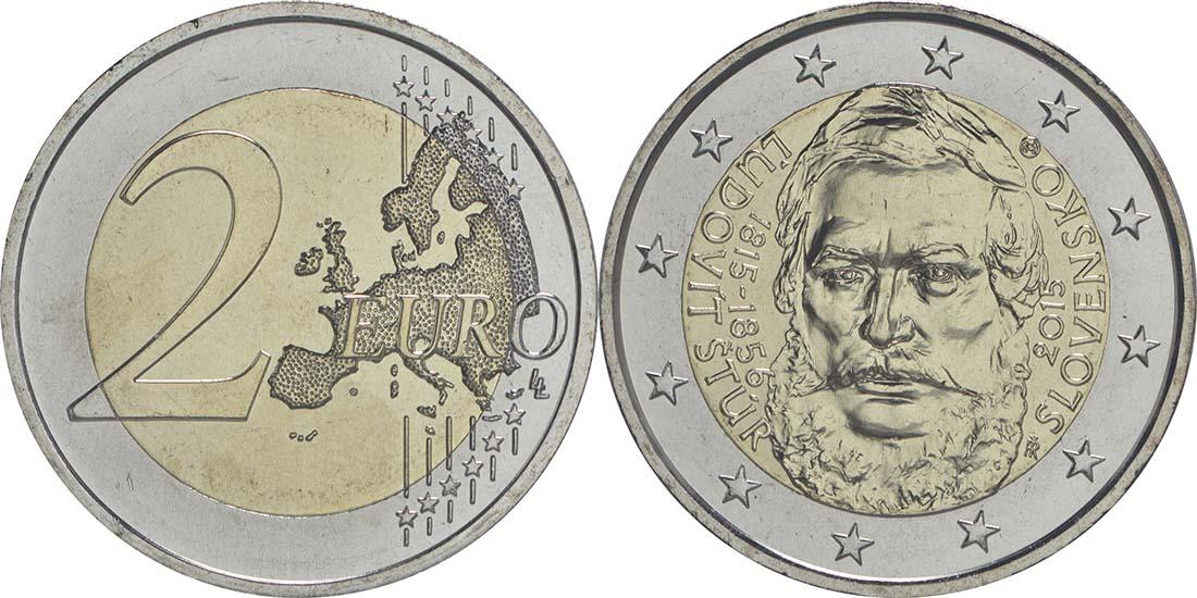 Slowakei : 2 Euro 200. Jahrestag der Geburt von Ludovít Stur  2015 bfr