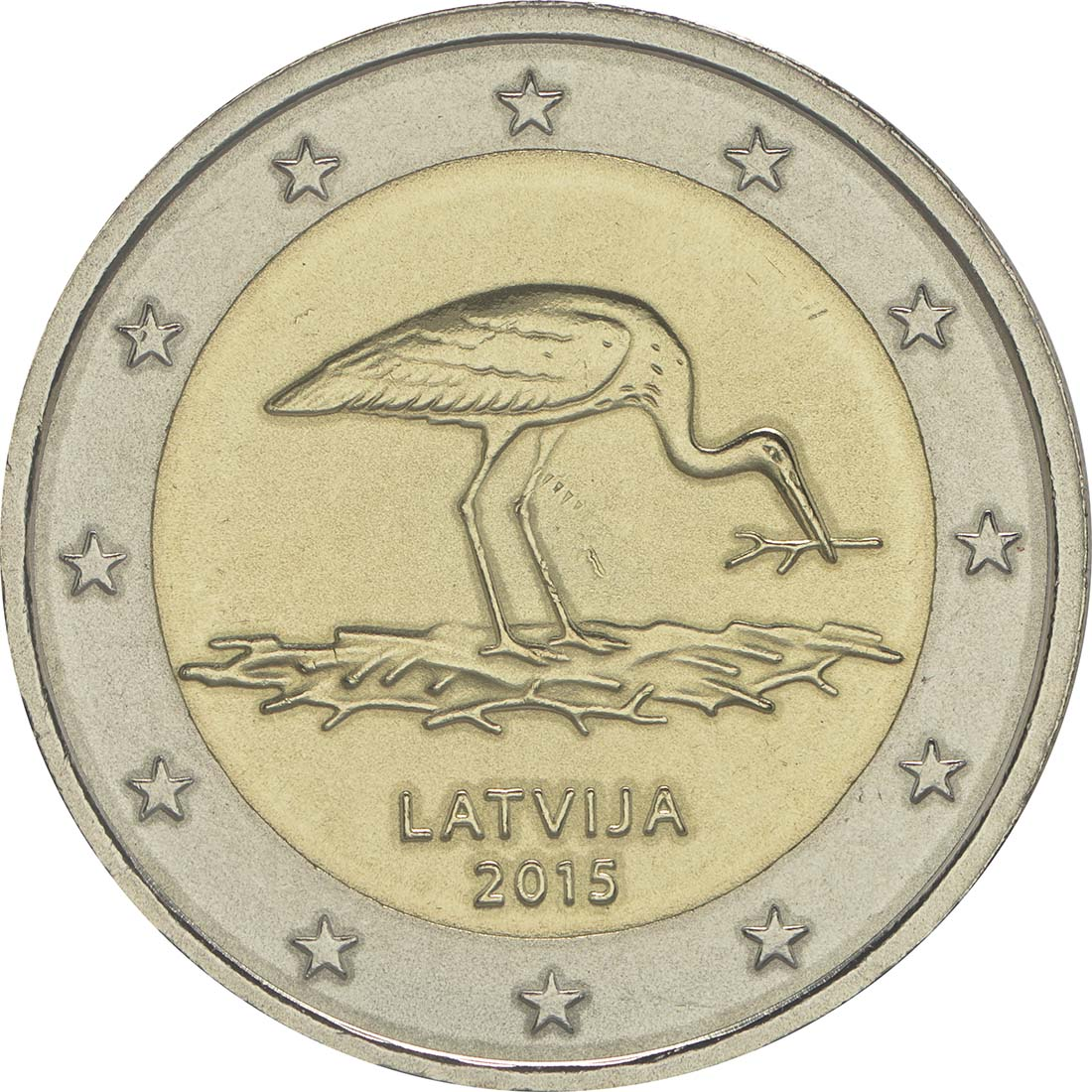Rückseite:Lettland : 2 Euro 10 Jahre Schwarzstorch-Schutzprogramm  2015 bfr