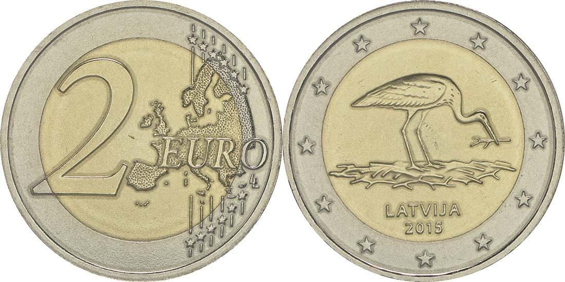 Lieferumfang:Lettland : 2 Euro 10 Jahre Schwarzstorch-Schutzprogramm  2015 bfr