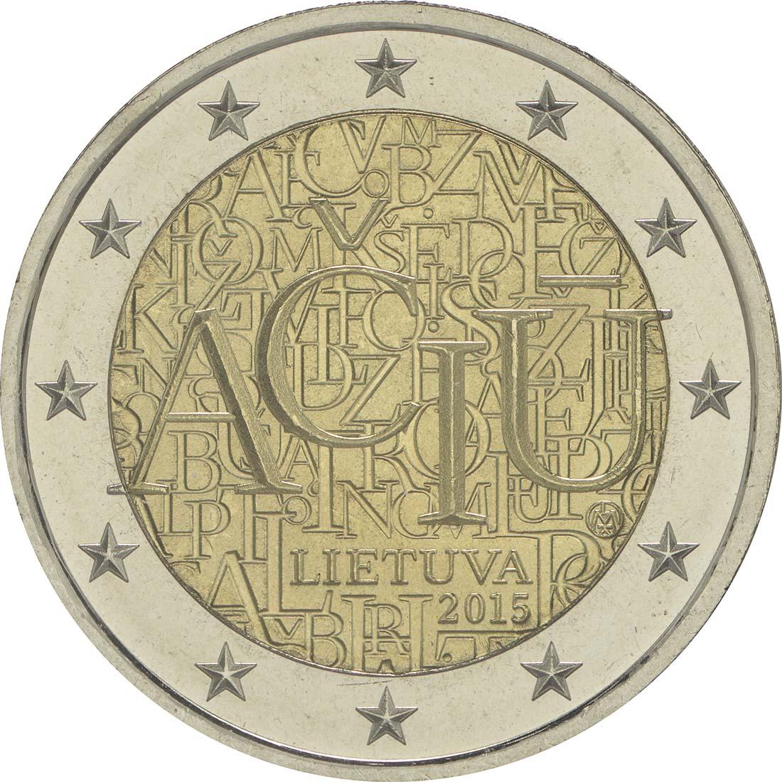 Rückseite:Litauen : 2 Euro Litauische Sprache  2015 bfr