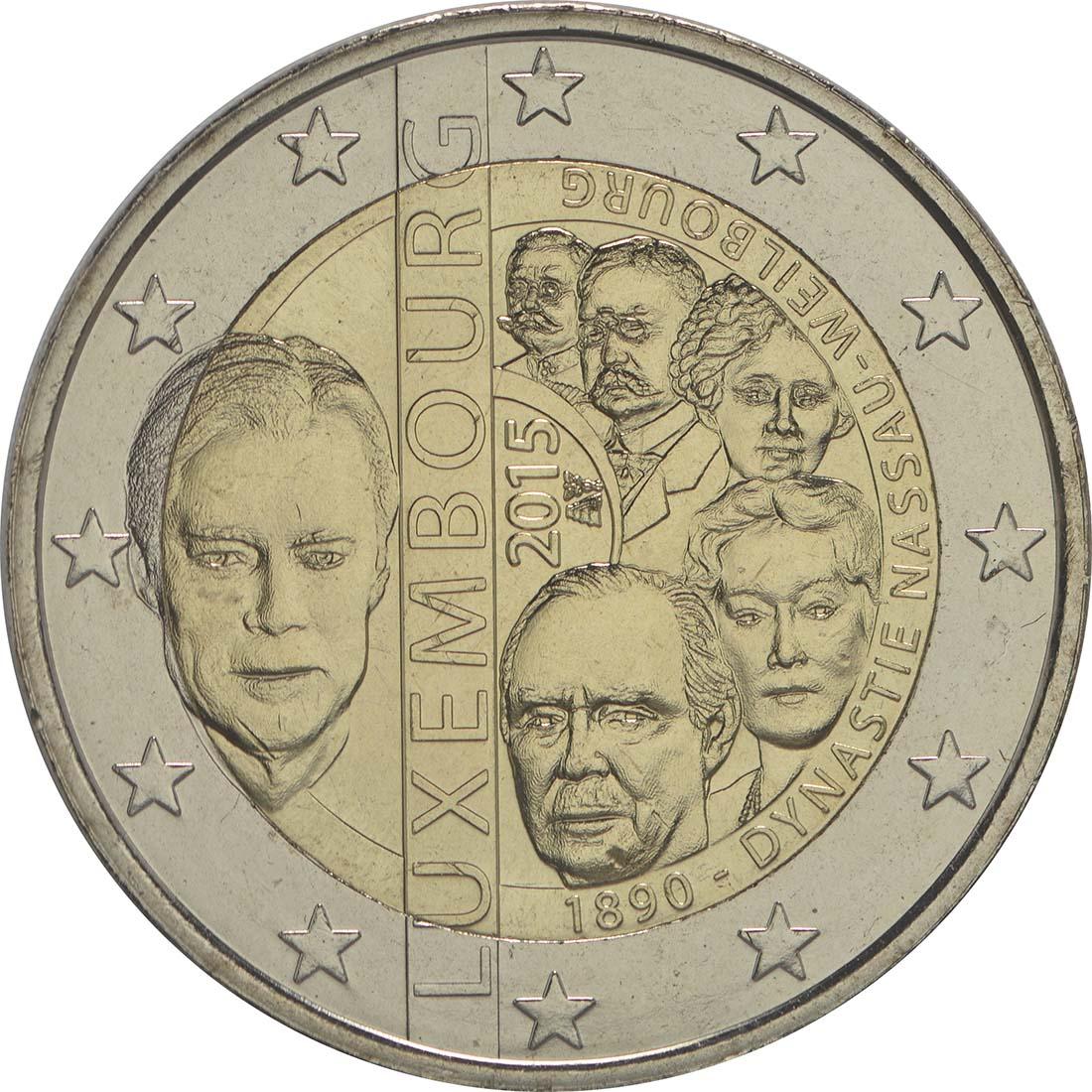 Rückseite:Luxemburg : 2 Euro 125. Jahrestag der Dynastie Nassau-Weilburg  2015 bfr