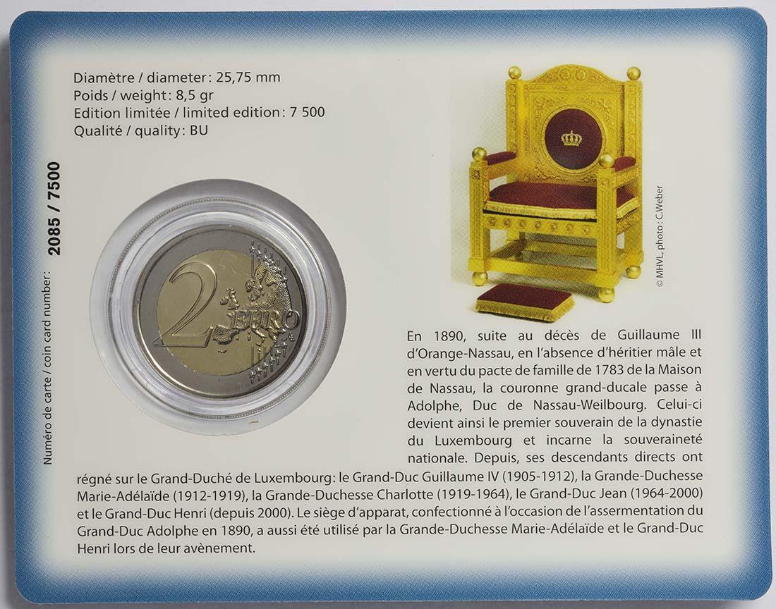 Zertifikat :Luxemburg : 2 Euro 125. Jahrestag der Dynastie Nassau-Weilburg  2015 bfr
