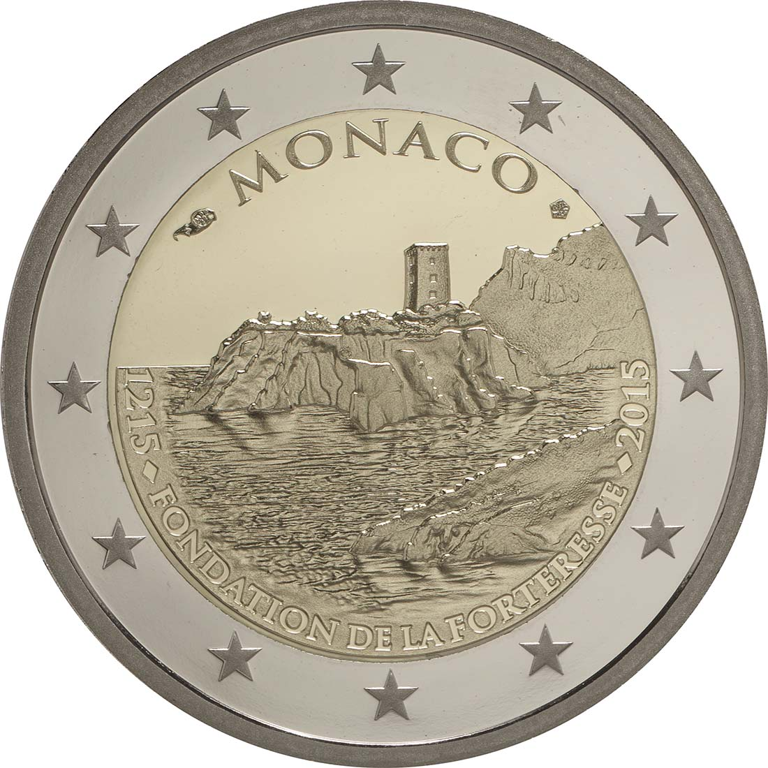 Rückseite:Monaco : 2 Euro 800. Jahrestag des Baus des ersten Schlosses auf dem Felsen  2015 PP