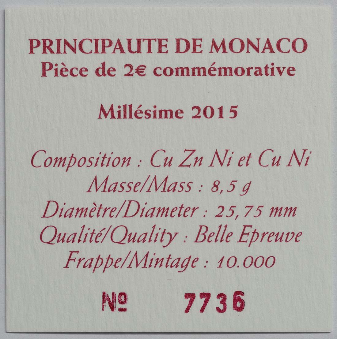 Zertifikat :Monaco : 2 Euro 800. Jahrestag des Baus des ersten Schlosses auf dem Felsen  2015 PP