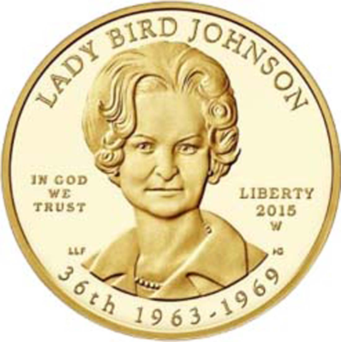 "USA : 10 Dollar Claudia Taylor ""Lady Bird"" Johnson  2015 Stgl."
