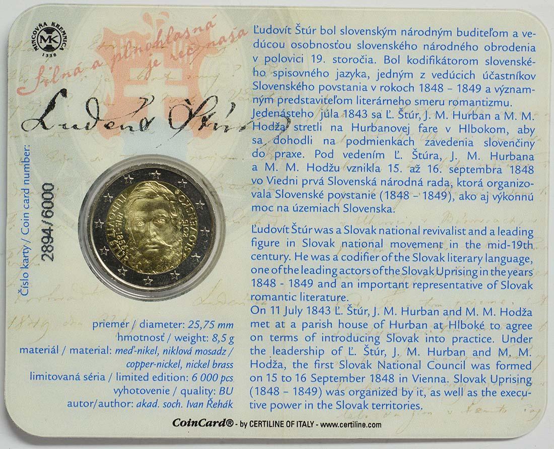 Zertifikat :Slowakei : 2 Euro 200. Jahrestag der Geburt von Ludovít Stur  2015 Stgl.