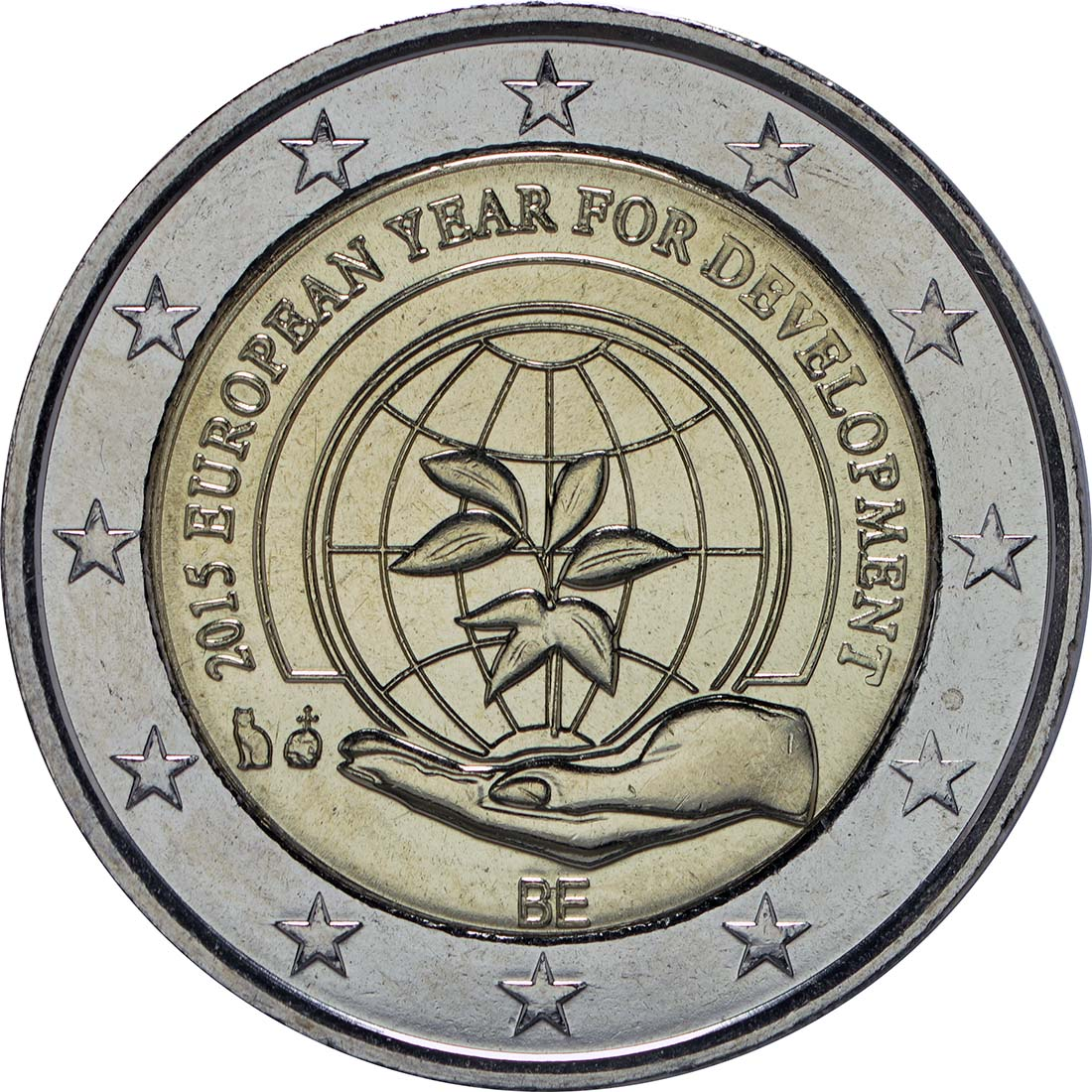 Rückseite :Belgien : 2 Euro Europäisches Jahr für Entwicklung  2015 bfr