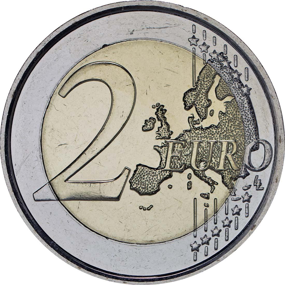 Vorderseite :Belgien : 2 Euro Europäisches Jahr für Entwicklung  2015 bfr