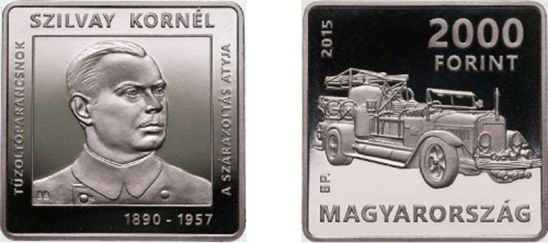 Lieferumfang:Ungarn : 2000 Forint 125. Jahre Kornél Szilvay - Feuerwehr quadratisch  2015 PP