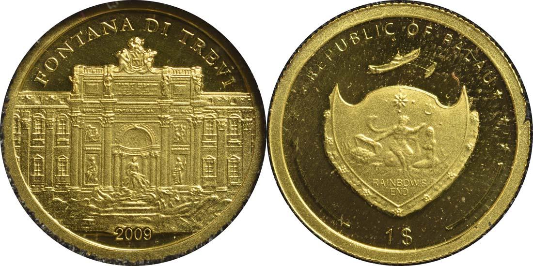 Lieferumfang:Palau Islands : 1 Dollar Trevibrunnen  2009 PP