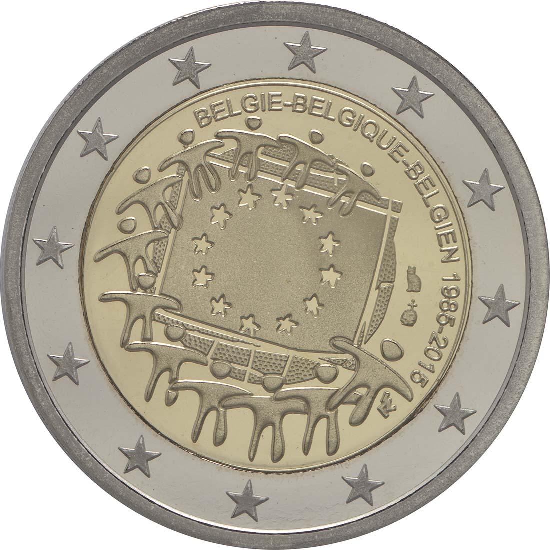 Rückseite:Belgien : 2 Euro 30 Jahre Europäische Flagge  2015 PP