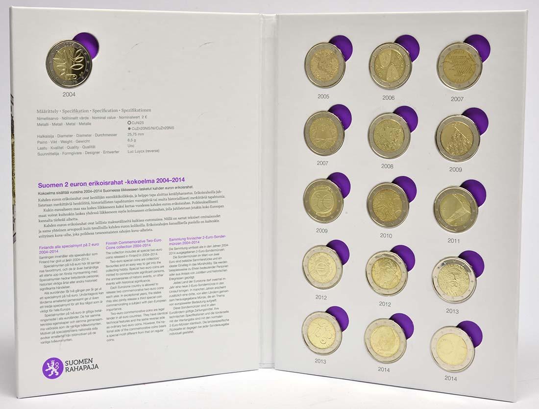 Lieferumfang:Finnland : 2 Euro 16x2 Euro Gedenkmünzen-Komplettset Finnland 2004-2014  2015 bfr