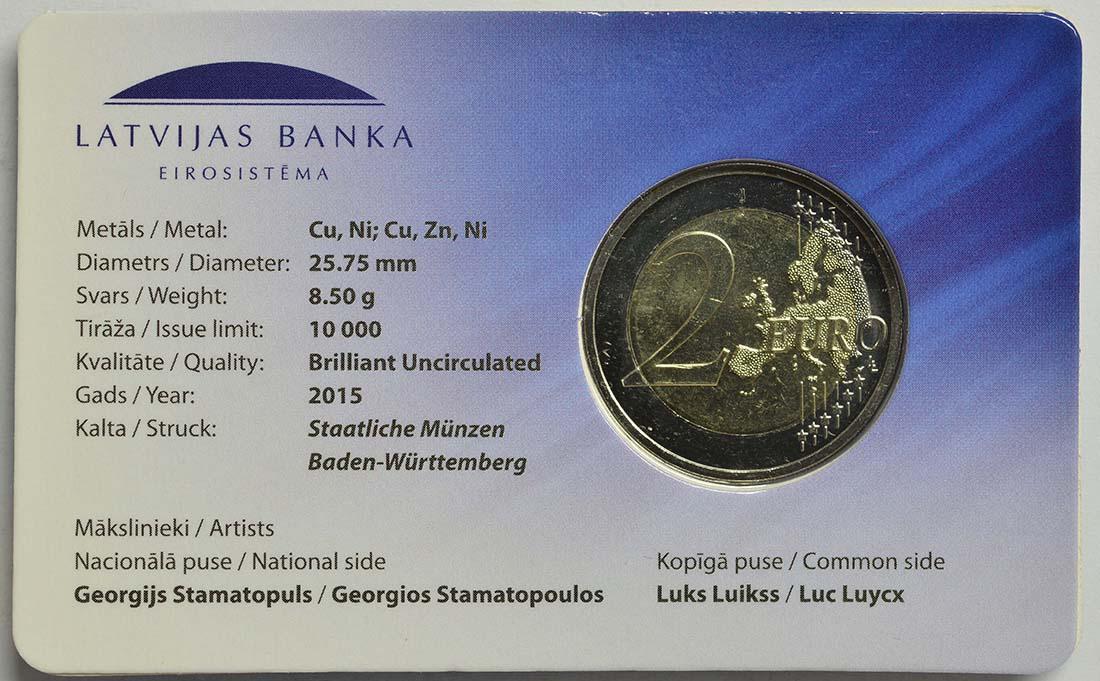 Zertifikat:Lettland : 2 Euro 30 Jahre Europäische Flagge  2015 Stgl.