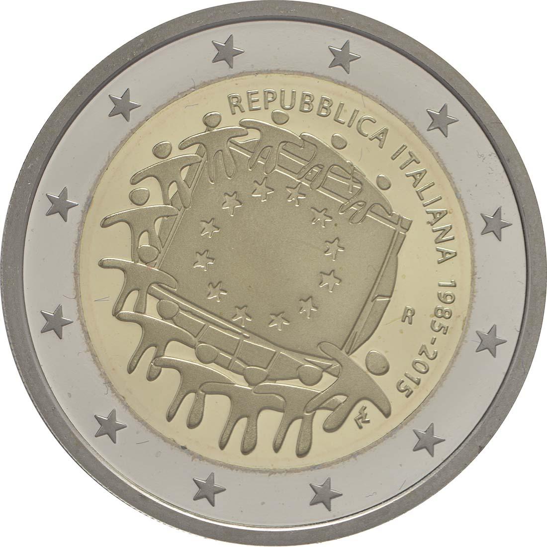 Rückseite:Italien : 2 Euro 30 Jahre Europäische Flagge  2015 PP