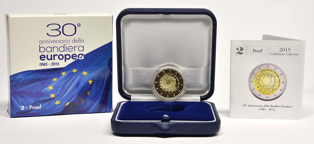 Übersicht:Italien : 2 Euro 30 Jahre Europäische Flagge  2015 PP