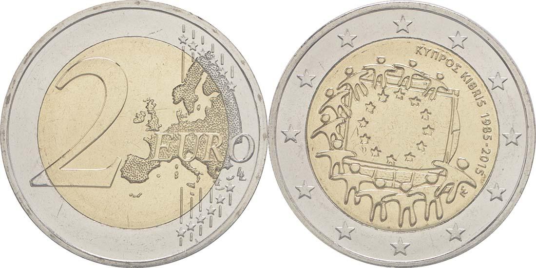 Zypern : 2 Euro 30 Jahre Europäische Flagge  2015 Stgl.