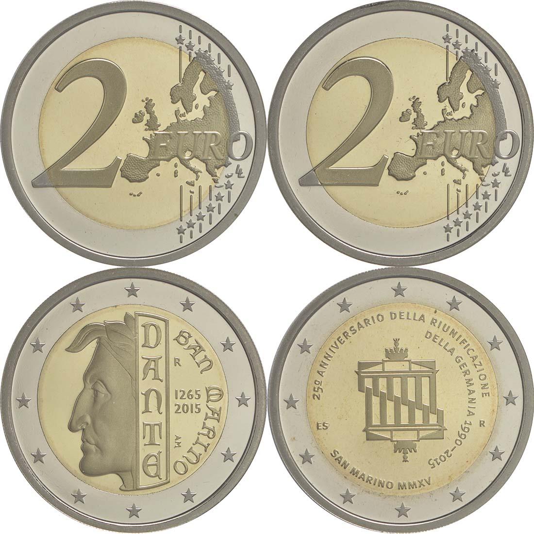 San Marino : 2 Euro Set aus 2x2 Euro Dante und Wiedervereinigung  2015 PP