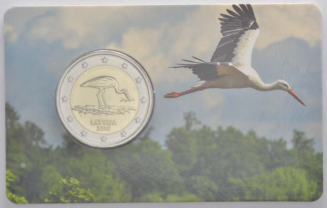 Lieferumfang:Lettland : 2 Euro 10 Jahre Schwarzstorch-Schutzprogramm  2015 Stgl.