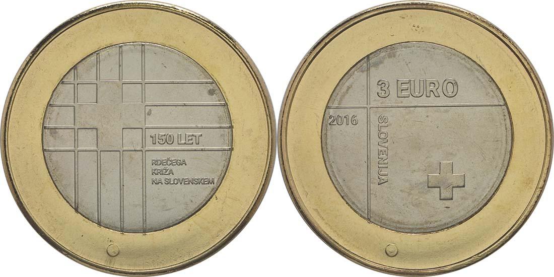 Lieferumfang:Slowenien : 3 Euro 150 Jahre Rotes Kreuz  2016 bfr