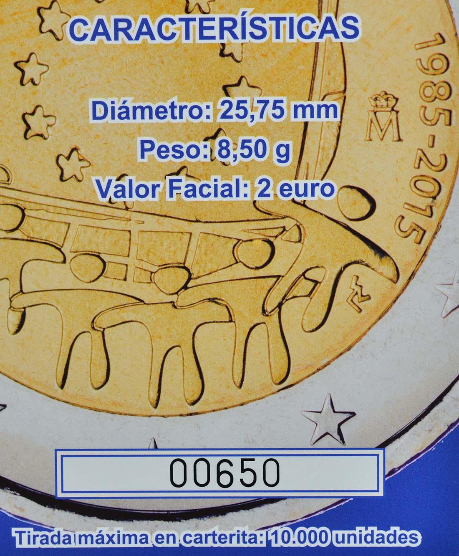 Zertifikat :Spanien : 2 Euro 30 Jahre Europäische Flagge  2015 PP