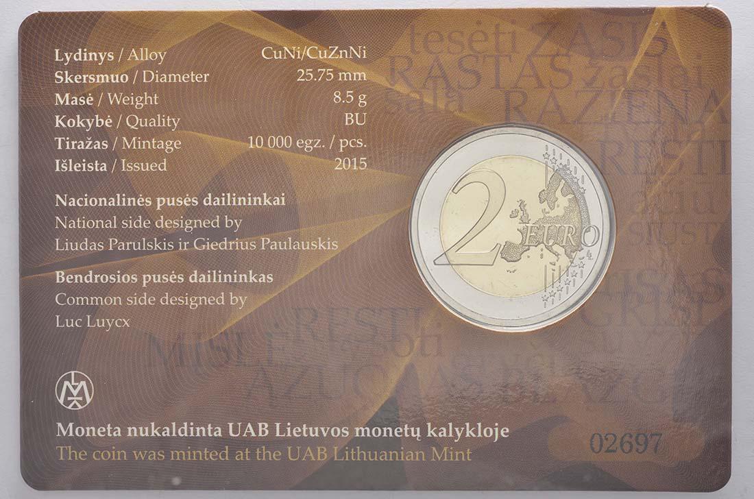 Zertifikat :Litauen : 2 Euro Litauische Sprache  2015 Stgl.