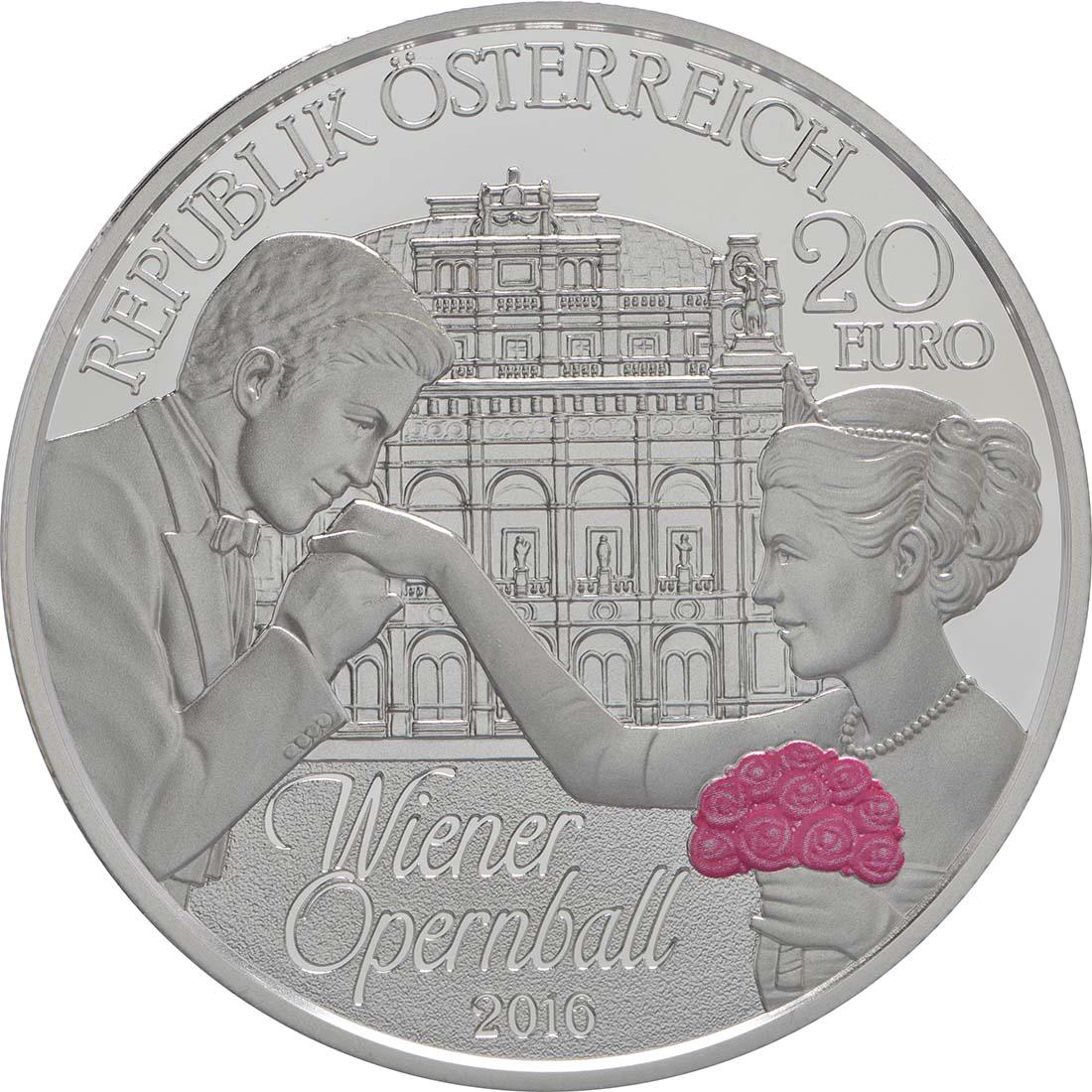 Rückseite:Österreich : 20 Euro Wiener Opernball  2016 PP