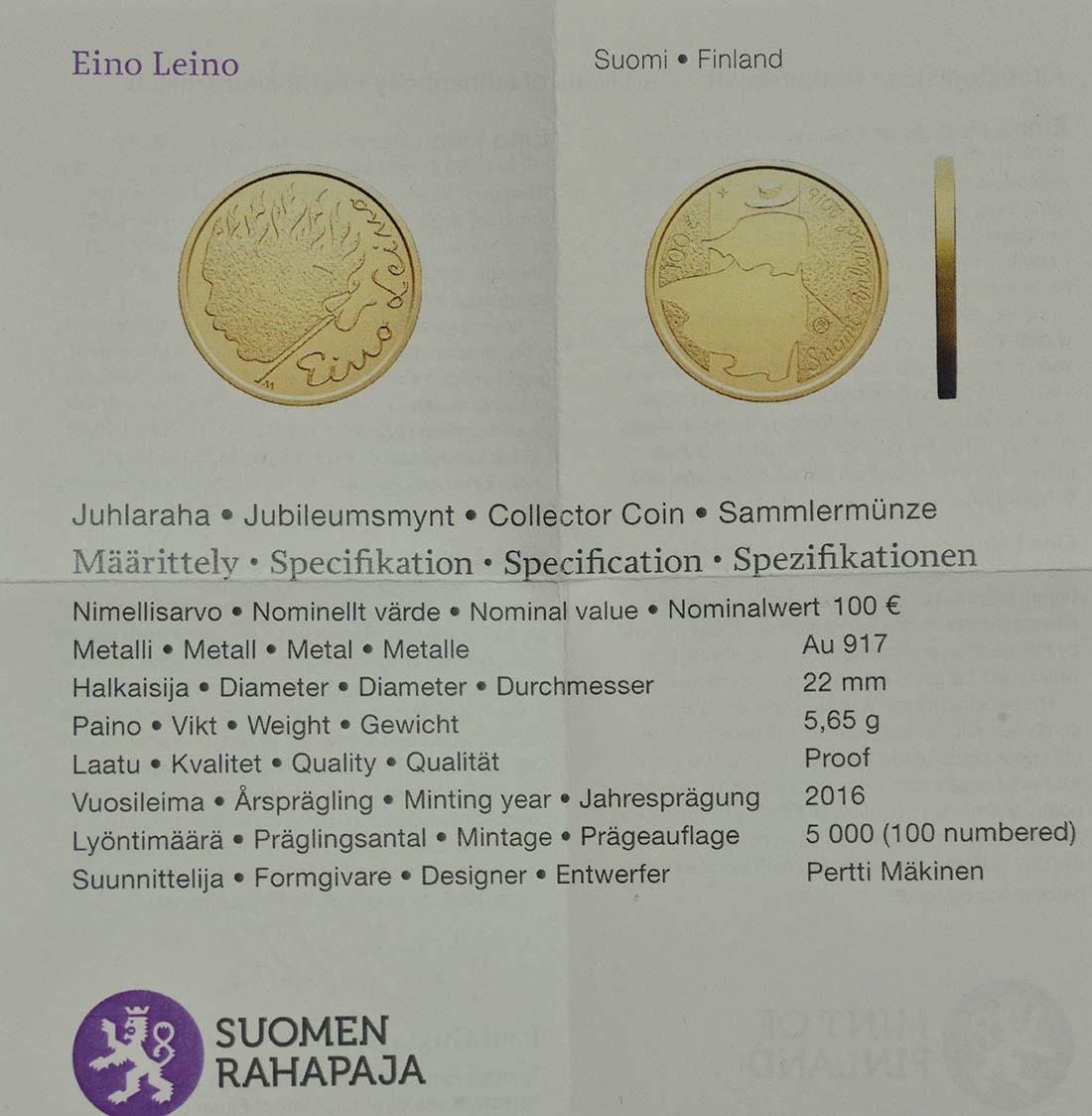 Zertifikat:Finnland : 100 Euro Eino Leino  2016 PP