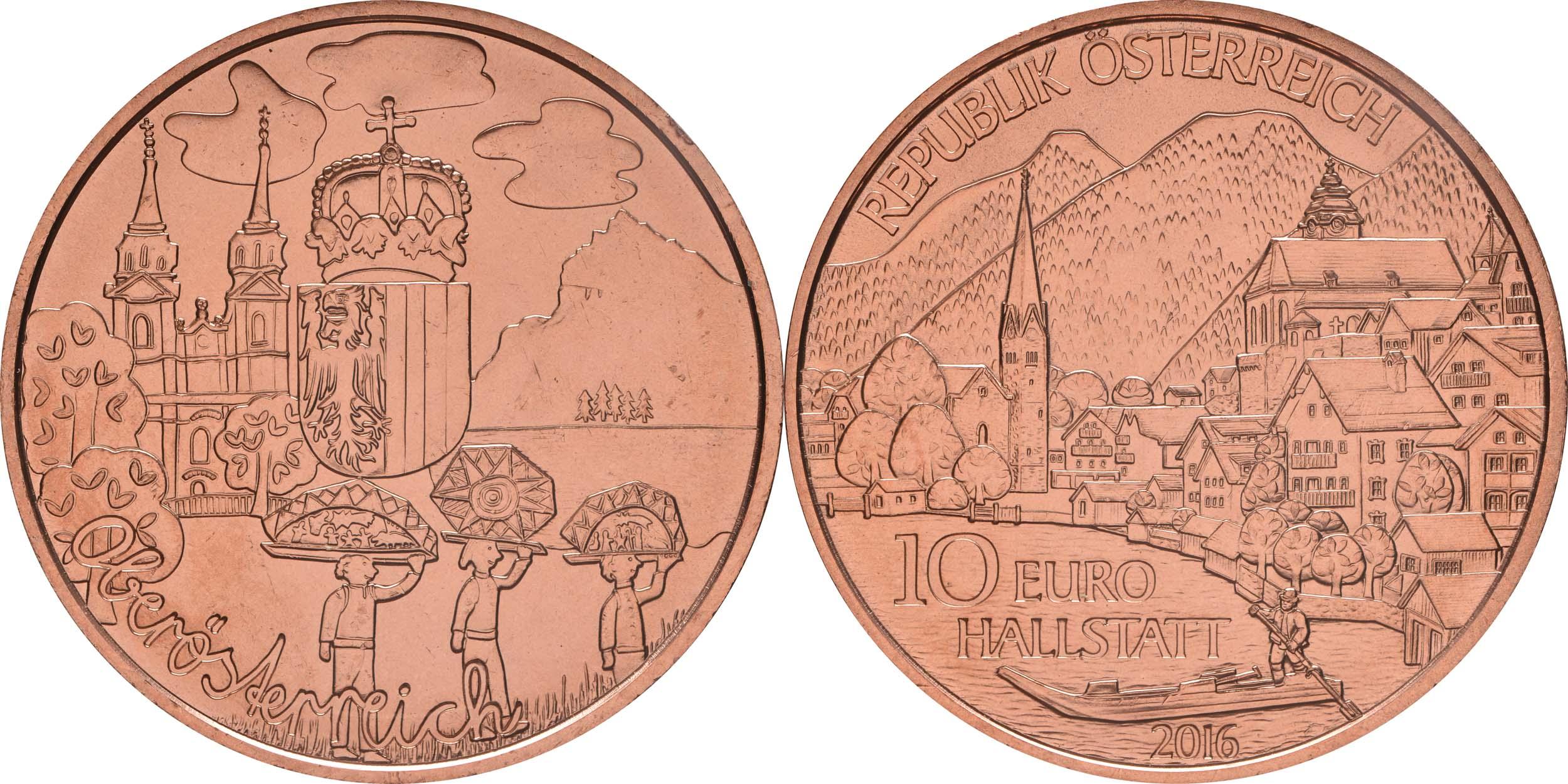 österreich 10 Euro Oberösterreich Kupfer 2016 Stgl