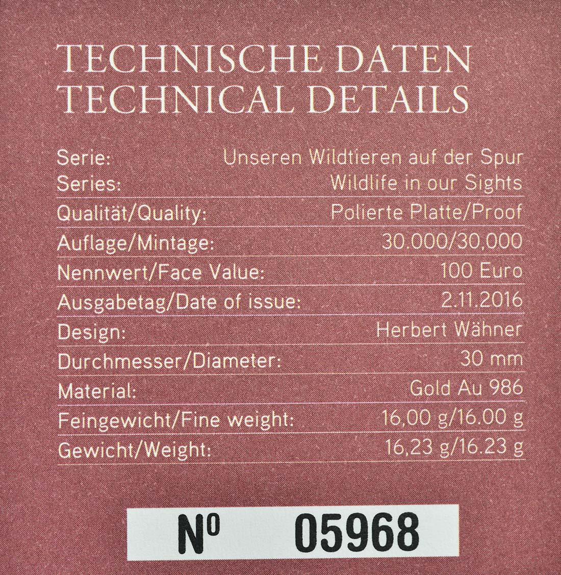 Zertifikat:Österreich : 100 Euro Der Fuchs  2016 PP