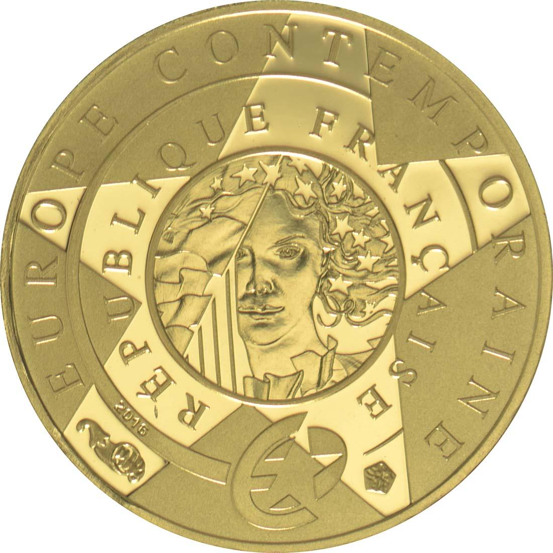 Vorderseite:Frankreich : 5 Euro Zeitgenössisches Europa Yves S. Laurent  2016 PP