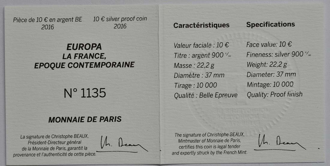 Zertifikat:Frankreich : 10 Euro Zeitgenössisches Europa Yves S. Laurent  2016 PP